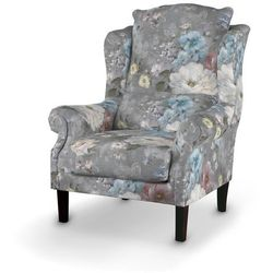 Dekoria Fotel, niebieskie i różowe kwiaty na szarym tle, 85x107cm, Monet