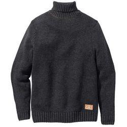Sweter z golfem Regular Fit bonprix antracytowy melanż