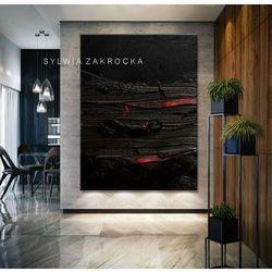 Stylowe obrazy do salonu - strukturalna czern rabat 10%