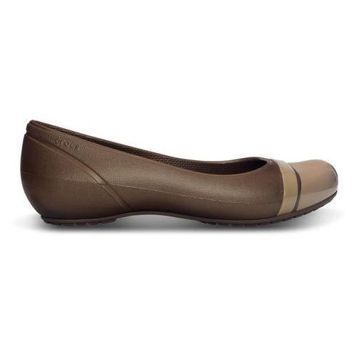 Pozostałe obuwie damskie, BUTY CROCS CAP TOE FLAT 12300 BRONZE/GOLD - BRĄZOWY