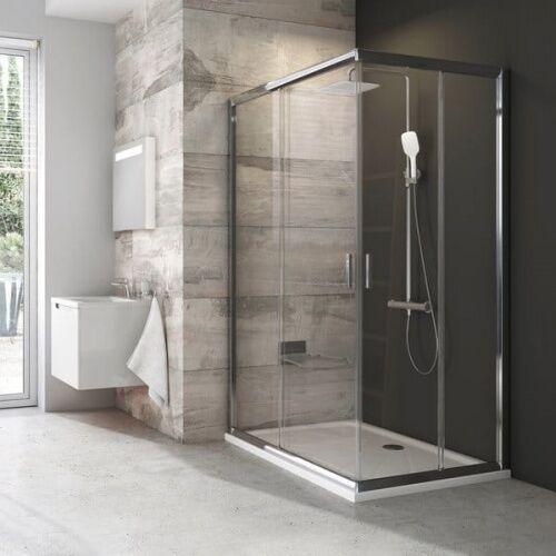 Kabiny prysznicowe, Ravak BLIX BLRV2K - 100 - ½ narożnej kabiny prysznicowej, profile białe, szyby grape - 1XVA0100ZG