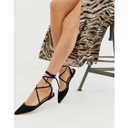 ASOS DESIGN Lawful plaited tie leg pointed ballet flats in black - Black