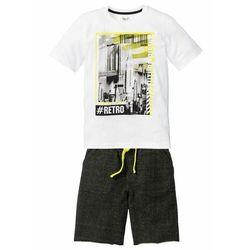 Shirt chłopięcy + bermudy dresowe (2 części) bonprix biało-czarny z nadrukiem