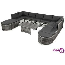vidaXL 12-cz. zestaw wypoczynkowy do ogrodu, poduszki, rattan PE szary Darmowa wysyłka i zwroty