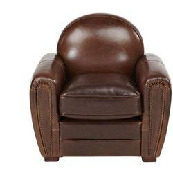 Fotel klubowy z postarzanej skóry BAUDOIN - Kolor: czekoladowy