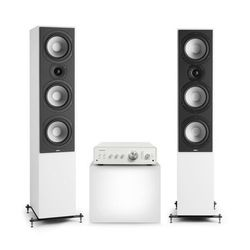 Numan Drive 801, zestaw stereo składający się ze wzmacniacza stereo i kolumn stojących, biały/biały