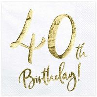 """Serwetki, Serwetki """"40th Birthday - złote urodziny"""", PartyDeco, białe, 33 cm, 20 szt"""