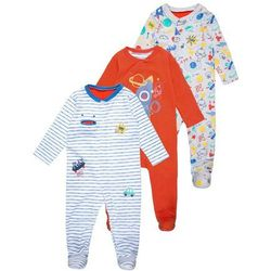mothercare BOYS HANGING SLEEPSUIT COLOUR ME IN BABY 3 PACK Piżama brights multicolor