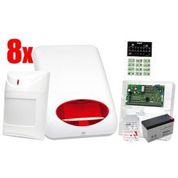 System alarmowy SATEL: Centrala CA-6 P, Manipulator CA-6 KLED, 8 x Czujka, Sygnalizator SPL-5010 R, Akcesoria