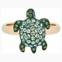 Pierścionek Mustique Sea Life Turtle, mały, zielony, powłoka w odcieniu złota