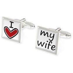 SPINKI DO KOSZULI I LOVE MY WIFE ślub wesele kolor czerwony kolor biały