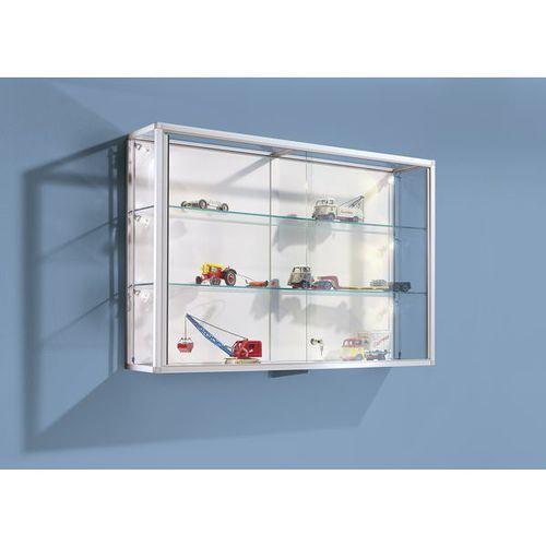 Pozostałe artykuły reklamowe, Witryna ścienna,rama aluminiowa, eloksalowana na kolor srebrny, 2 szklane półki