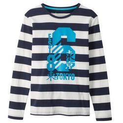 Shirt z długim rękawem w paski i z nadrukiem bonprix ciemnoniebiesko-biel wełny w paski