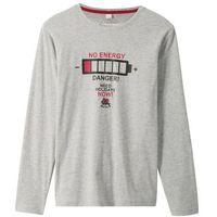 Koszulki z krótkim rękawkiem dziecięce, Shirt z długim rękawem i nadrukiem bonprix jasnoszary melanż z nadrukiem