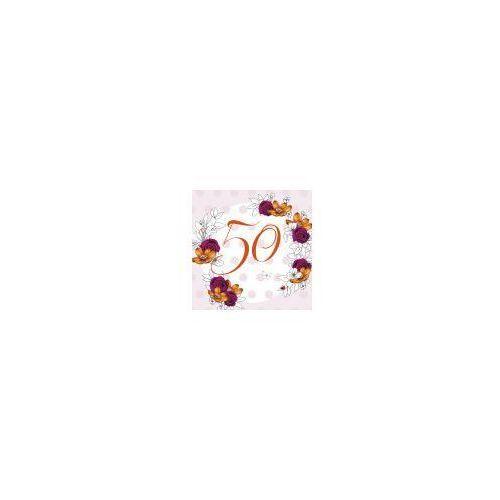 Pozostałe artykuły szkolne, Karnet Swarovski kwadrat CL1450 Urodziny 50 kwiaty