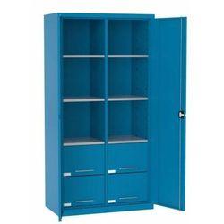 Szafa warsztatowa metalowa 6 półek 4 szuflady zamykana SL 110.18