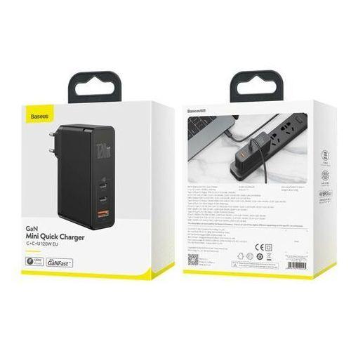 Smartbandy, Baseus GaN2 Pro | Ładowarka sieciowa 2x Type-C 1x USB-A 120W Power Delivery 3.0 Quick Charge 4.0 Huawei SCP Samsung Fast Charge 2.0 + kabel 100W Rabat malejący #1 (-5%)