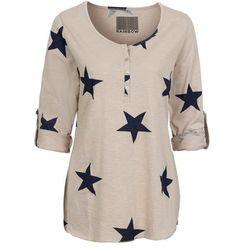Shirt w gwiazdy bonprix beżowo-niebieski