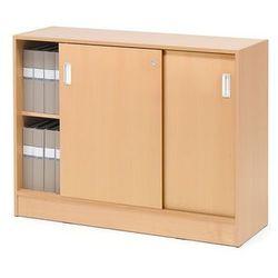 Szafka FLEXUS z drzwiami przesuwnymi, 2 półki, 925x1200x415 mm, buk, buk