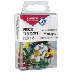Pinezki kolorowe beczułki OFFICE PRODUCTS, w pudełku, 25szt., mix kolorów