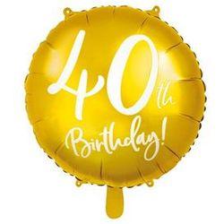 """Balon foliowy """"40 Urodziny 40th Birthday"""", PartyDeco, 18"""" złoty"""