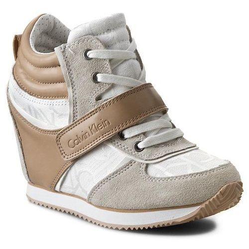Półbuty damskie, Sneakersy CALVIN KLEIN JEANS - Viridiana RE9264 White/Natu