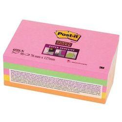 Bloczek samoprzylepny POST-IT Super Sticky (655S-N), 127x76mm, 5x90 kartek, neonowe