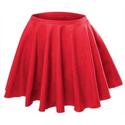 Rozkloszowana spódniczka z koła czerwona - czerwony