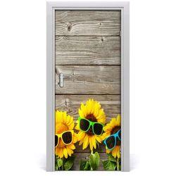 Nalepka naklejka na drzwi Słoneczniki okulary