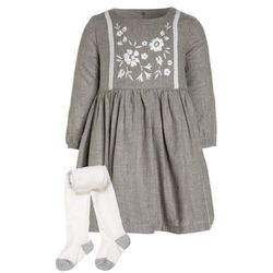 mothercare FOLK DRESS WITH TIGHTS BABY SET Sukienka koszulowa grey