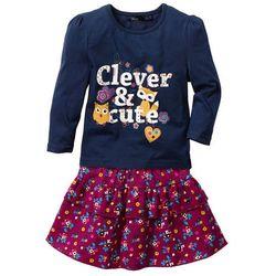 Shirt dziewczęcy z długim rękawem i spódnica (2 części) bonprix ciemnoniebiesko-jeżynowy