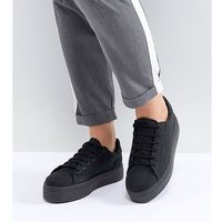 Damskie obuwie sportowe, ASOS DESIGN Wide Fit Day Light chunky flatform lace up trainers - Black