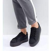 Damskie obuwie sportowe, ASOS DESIGN Wide Fit Day Light flatform lace up trainers - Black