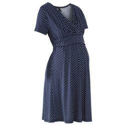 Sukienka ciążowa i do karmienia, shirtowa, krótki rękaw bonprix ciemnoniebiesko-biały w kropki