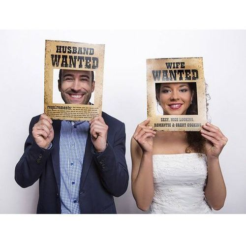Pozostałe na ślub i wesele, Foto rekwizyty Husband Wanted/Wife Wanted - 2 elem.