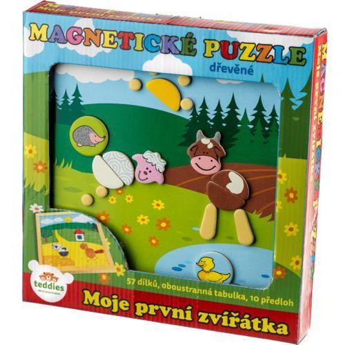 Puzzle, Magnetické puzzle dřevěné Moje první zvířátka 57 dílků oboustranná tabulka 25x25 cm v krabici MPZ