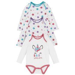 Body niemowlęce z długim rękawem (3 szt.), bawełna organiczna bonprix biało-pastelowy jasnoróżowy - różowy flaming