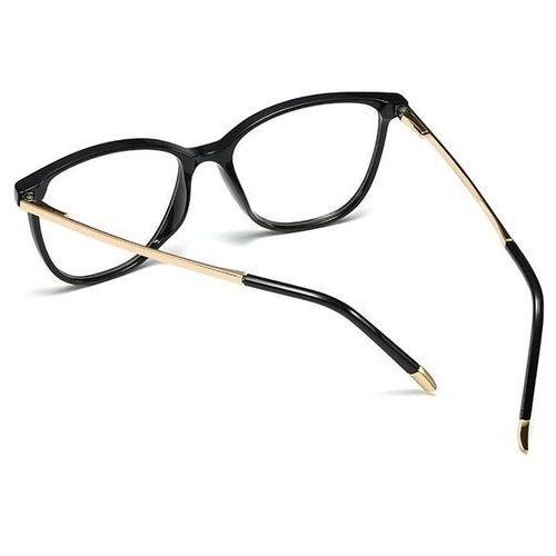 Pozostała galanteria, Okulary damskie zerówki czarne nerdy złote kujonki