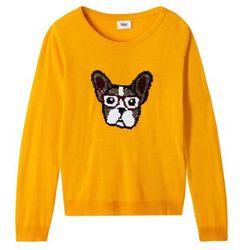 Sweter dzianinowy z odwracanymi cekinami bonprix żółty szafranowy