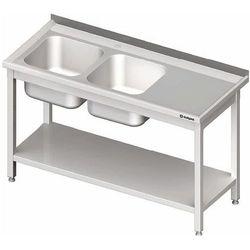 Stół ze zlewem dwukomorowym z lewej strony z półką 1100x600x850 mm | STALGAST, 980846110