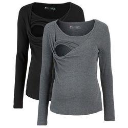 Shirt ciążowy i do karmienia, w prążek, długi rękaw (2 szt.) bonprix czarny + szary melanż