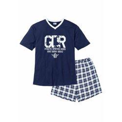 Piżama z krótkimi spodenkami bonprix ciemnoniebiesko-biały