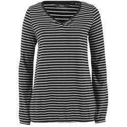Shirt bawełniany w paski, długi rękaw bonprix czarno-biały w paski