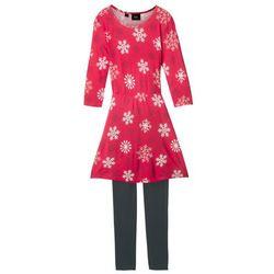 Sukienka dziewczęca z rękawami 3/4 + legginsy (2 części) bonprix czerwono-czarny