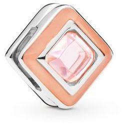 Rodowany srebrny charms pandora koralik reflexions kwadrat kostka cube cyrkonia srebro 925 BEAD192RH