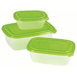 ARKAS Zestaw pojemników do żywności Sunshine 0,5L+1+1,9L transparent/zielony