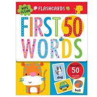Książki dla dzieci, Flashcards 50 First Words ze zmywalnym flamastrem