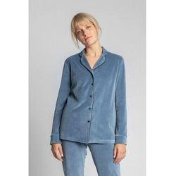 LA007 Welurowa koszula od piżamy z kołnierzykiem - niebieski