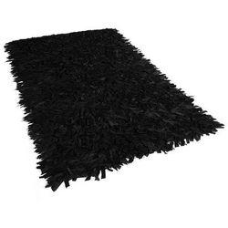 Dywan czarny 160 x 200 cm skórzany MUT