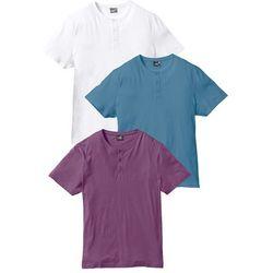 T-shirt (3 szt.) Regular Fit bonprix jagodowy + niebieski dżins + biały